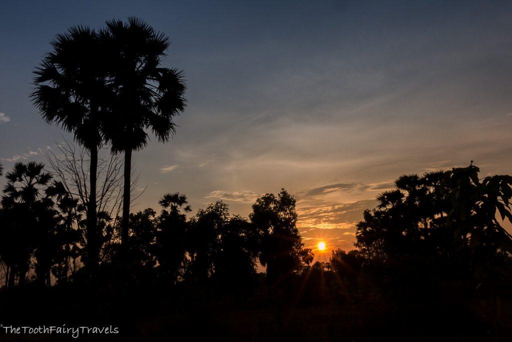 sunrise behind the school