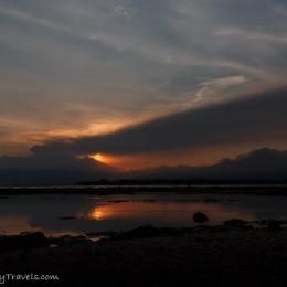 Indonesia - Gili Air - erupting Mt. Rinjani at Lombok