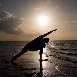 Yoga at a sand bar